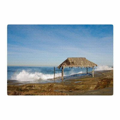 Nick Nareshni Crashing Waves Near Hut Blue/Yellow Area Rug Rug Size: 4 x 6