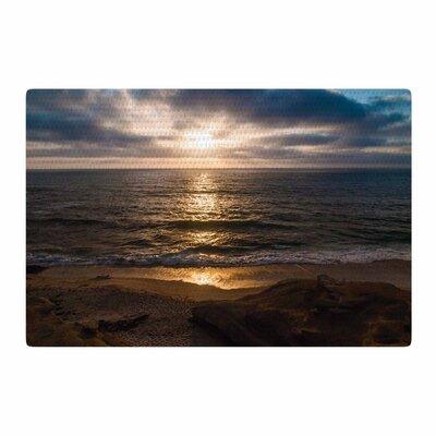 Nick Nareshni La Jolla Sunset on Beach Blue Area Rug Rug Size: 2 x 3