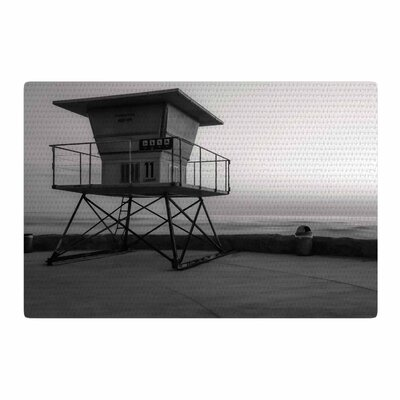 Nick Nareshni Lifeguard Station at Dusk Black/White Area Rug Rug Size: 4 x 6