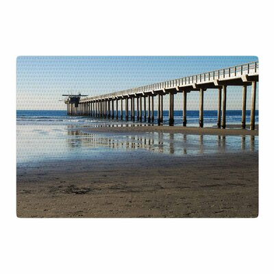 Nick Nareshni Scripps Beach Pier Coastal Photography Brown/Blue Area Rug Rug Size: 4 x 6