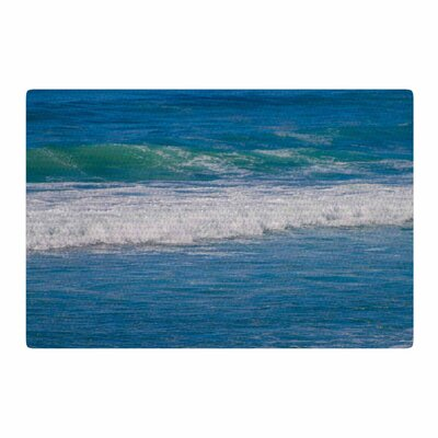 Nick Nareshni Solana Beach Rolling Waves Coastal Blue Area Rug Rug Size: 4 x 6