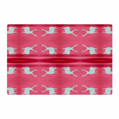 Nika Martinez Deer Tie Die Red/Teal Area Rug Rug Size: 2 x 3