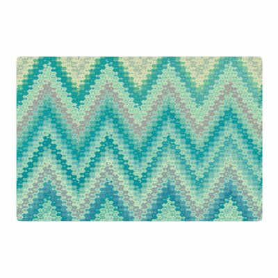 Nika Martinez Seventies Emerald Chevron Abstract Green Area Rug Rug Size: 2 x 3