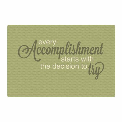 NL designs Accomplishment Typography Olive/Green Area Rug Rug Size: 2 x 3