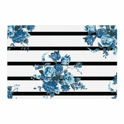 NL Designs Floral Strips Blue/Black/White Area Rug Rug Size: 4 x 6