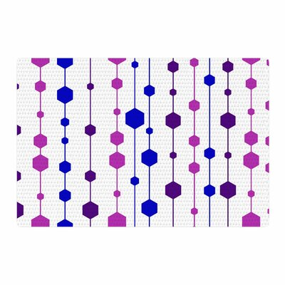 NL Designs Cool Dots Line Pattern White/Pink/Blue Area Rug Rug Size: 2 x 3