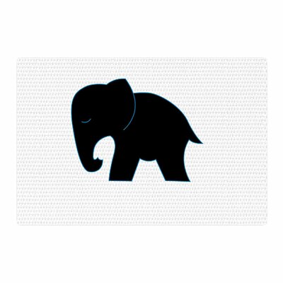 NL Designs Cute Elephant Animals Black Area Rug Rug Size: 4 x 6