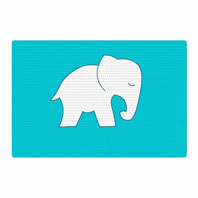 NL Designs Cute Elephant Abstract Blue/White Area Rug Rug Size: 4 x 6