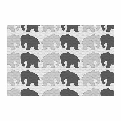 NL Designs Elephants on Parade Animals Gray Area Rug Rug Size: 2 x 3