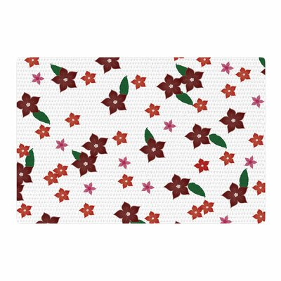NL Designs Holiday Floral Pattern White Area Rug Rug Size: 4 x 6