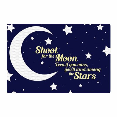 NL Designs Moon and Stars Quote Blue/White Area Rug Rug Size: 2 x 3