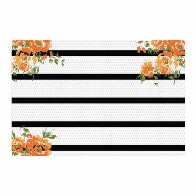 NL Designs Floral Stripes Floral Black/Orange Area Rug Rug Size: 4 x 6