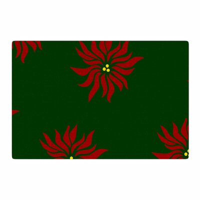 NL Designs Poinsettias Green/Red Area Rug Rug Size: 2 x 3
