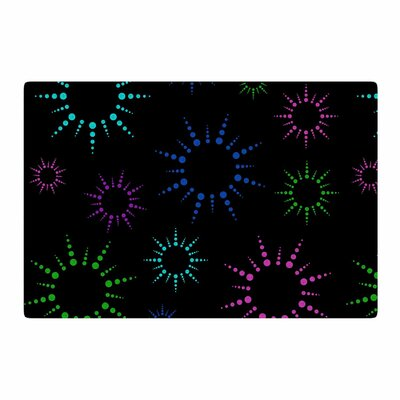 NL Designs Rainbow FireworksGeometric Black Area Rug Rug Size: 2 x 3