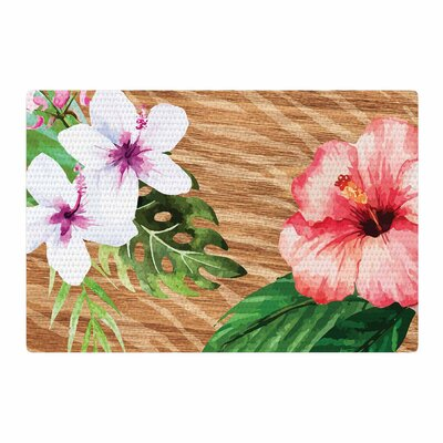 NL designs Vintage Tropical Jungle Floral Pink Area Rug Rug Size: 4 x 6