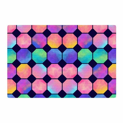 Noonday Design Colorful Watercolor Octagons Abstract Blue/Pink Area Rug Rug Size: 2 x 3