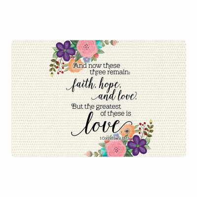 Noonday Design Faith, Hope, and Love Beige Area Rug Rug Size: 4 x 6