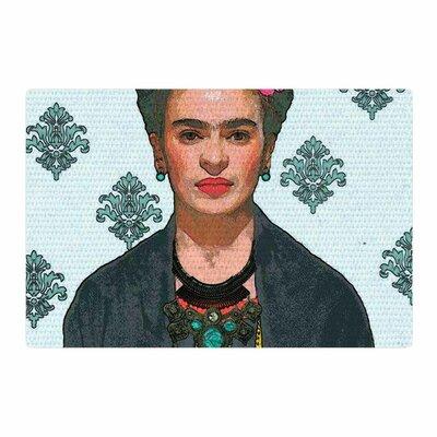Oriana Cordero Frida Kahlo-Trendy V2 Gray/Blue Area Rug Rug Size: 2 x 3