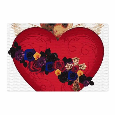 Oriana Cordero Sacred Heart For Frida Red/Purple Area Rug Rug Size: 2 x 3
