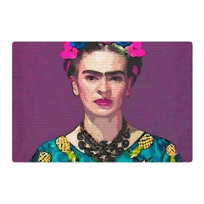 Oriana Cordero Trendy Frida Kahlo Purple/Teal Area Rug Rug Size: 4 x 6