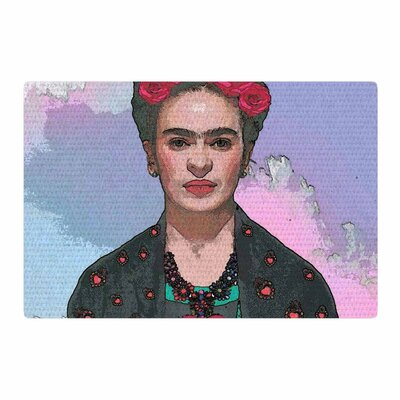 Oriana Cordero Trendy Frida Kahlo-Farewell Black/Red Area Rug Rug Size: 2 x 3