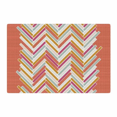 Pellerina Design Herringbone Weave Bold Vector Orange Area Rug Rug Size: 2 x 3