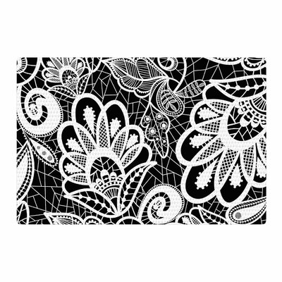 Petit Griffin Floral Lace Abstract Modern Black/White Area Rug Rug Size: 2 x 3