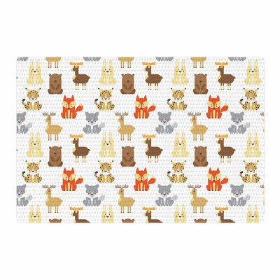 Petit Griffin Retro Animals Orange/Gray Area Rug Rug Size: 4 x 6