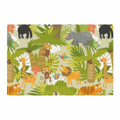 Petit Griffin Roar of the Jungle Animals Green Area Rug Rug Size: 4' x 6'