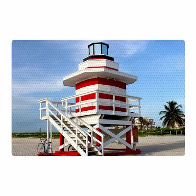 Philip Brown Lighthouse Lifeguard Stand Photography Blue Area Rug Rug Size: 4 x 6