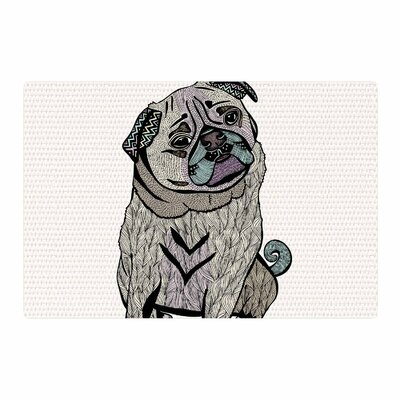 Pom Graphic Design Ares the Pug Black Area Rug Rug Size: 4 x 6