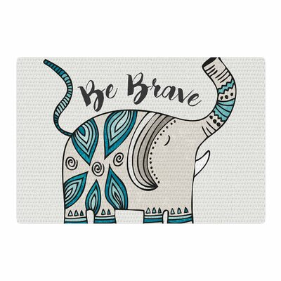 Pom Graphic Design Be Brave Typography Teal Area Rug Rug Size: 4 x 6
