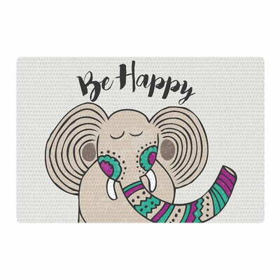 Pom Graphic Design Be Happy Typography Tan Area Rug Rug Size: 2 x 3