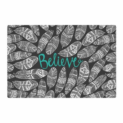 Pom Graphic Design Believe Gray Area Rug Rug Size: 4 x 6