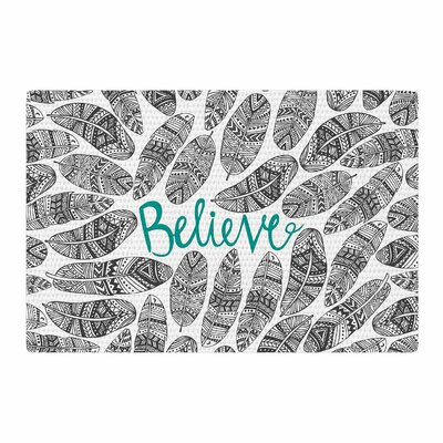 Pom Graphic Design Believe Gray/Teal Area Rug Rug Size: 4 x 6