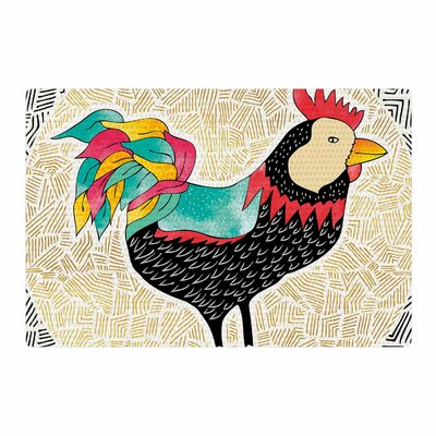 Pom Graphic Design Cuckaroo Rooster Black/Gold Area Rug Rug Size: 4' x 6'