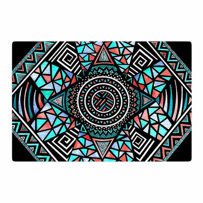 Pom Graphic Design Geo Glass Teal/Black Area Rug Rug Size: 4' x 6'