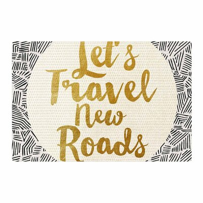 Pom Graphic Design Let's Travel New Roads Gold/Black Area Rug Rug Size: 4' x 6'