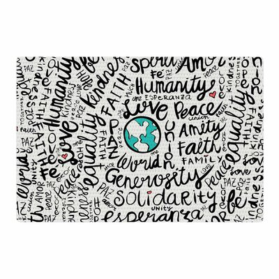Pom Graphic Design Positive World Teal/Black Area Rug Rug Size: 4 x 6