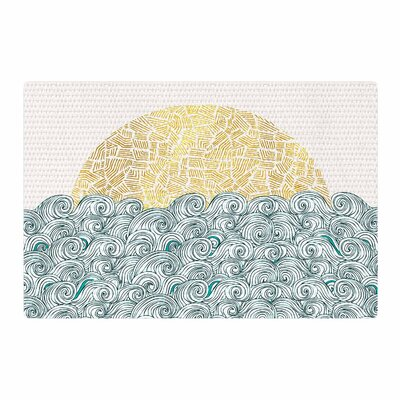 Pom Graphic Design Sunny Tribal Seas II Ocean Teal Area Rug Rug Size: 4' x 6'