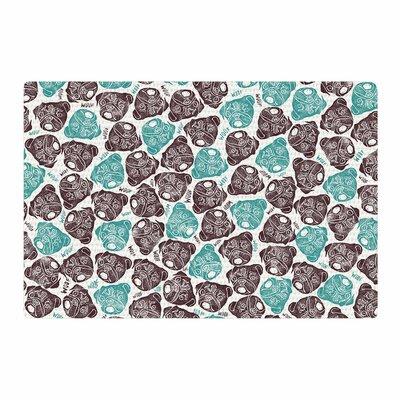 Pom Graphic Design The Barking Pug Teal/Black Area Rug Rug Size: 2 x 3