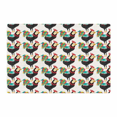 Pom Graphic Design The Rooster Squad Pattern Black Area Rug Rug Size: 2' x 3'