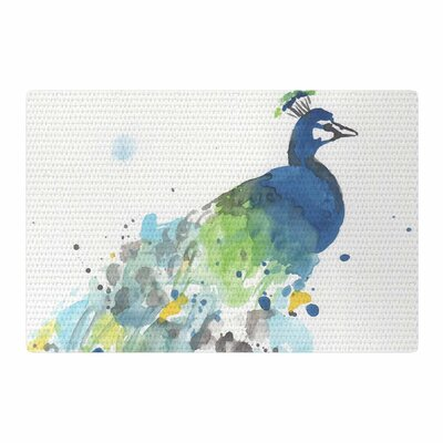 Rebecca Bender Abstract Watercolor Peacock Blue/Green Area Rug Rug Size: 2 x 3