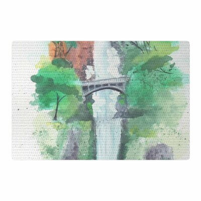 Rebecca Bender Multnomah Falls Watercolor Painting Green Area Rug Rug Size: 2 x 3