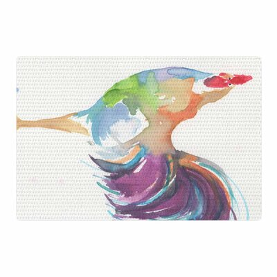 Rebecca Bender Watercolor Rooster Bird Area Rug Rug Size: 2 x 3