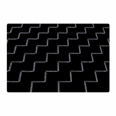Richard Casillas	 ZigZags Night Black/White Area Rug Rug Size: 2 x 3