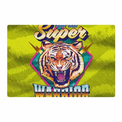 Roberlan Super Furry Tiger Warrior Green/Orange Area Rug Rug Size: 2 x 3