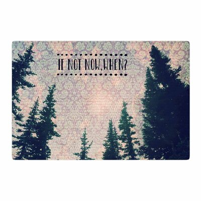 Robin Dickinson If Not Now, When? Tree Typography Pink/Green Area Rug Rug Size: 4 x 6
