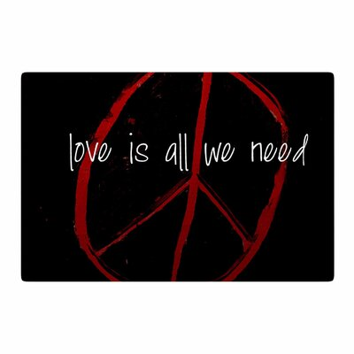 Robin Dickinson Love is All We Need Red/Black Area Rug Rug Size: 4 x 6