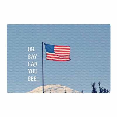 Robin Dickinson Oh Say Can You See Flag Typography Blue Area Rug Rug Size: 2 x 3